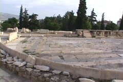 Stage of ancient Theater of Dionysus (from seats) in Athens, Greece Stock Footage