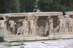 Marble relief sculptures of the skene, or stage background/scenery at the Stock Footage