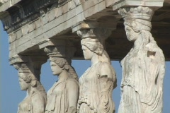 Caryatids, carytids (female columns) on the Erectheum Temple atop the acropolis Stock Footage