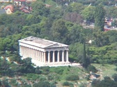 Stock Video Footage of Telephoto of the Theseum Temple (from the acropolis) in the ancient agora in