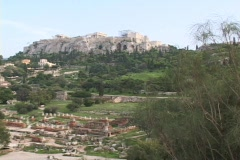 The Acropolis from the ancient agora in Athens, Greece Stock Footage
