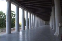 Columned portico at the stoa (Agora Museum) in the ancient agora in Athens, Stock Footage