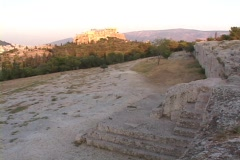 Still Acropolis (background) to zoom into steps/podium/stage of the pnyx (pynka) Stock Footage