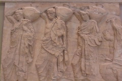 Marble frieze relief sculpture (Parthenon), showing water carriers (by Phidias) - stock footage