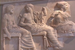 Marble frieze relief sculpture (Parthenon), showing Greek gods seated atop Mt. Stock Footage