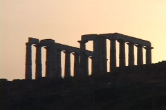 The Temple of Poseidon (sunset silhouhette), Cape Sounion, Greece Stock Footage