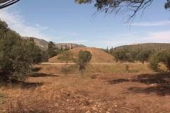 Burial mound, tomb, tumulus of the Marathon fighters at Marathon, Greece Stock Footage