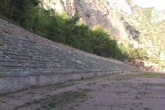 The ancient Pythian Games stadium in Delphi, Greece Stock Footage