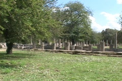 The Palaestra (training area) of the ancient Olympic Games at Olympia, Greece Stock Footage