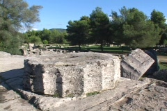 Fallen column drums at the Temple of Olympian Zeus at Olympia, Greece Stock Footage