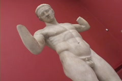 "The classical statue called the ""diadoumenos"", from Delos, Greece Stock Footage"