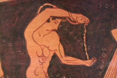 Nude Athlete pouring olive oil on red figure calyx krater pottery depicting Stock Footage