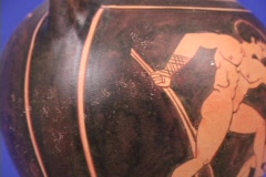 Red figure amphora pottery depicting boxing or pancration, on fighter signals Stock Footage