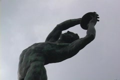 Bronze statue of discus thrower; discobolus Stock Footage