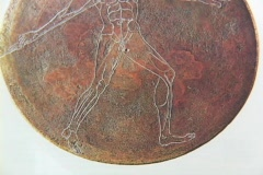 Ancient bronze discus depicting a javelin thrower Stock Footage