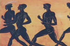 Red figure pottery of athletes in running footrace Stock Footage