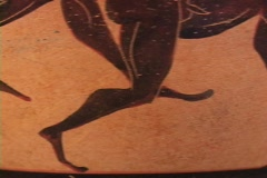 Red figure pottery of athletes in running footrace (replica) Stock Footage