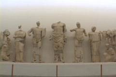 Pedimental sculptures from the Temple of Olympian Zeus' pediment Stock Footage