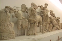 Pedimental sculptures from the Temple of Olympian Zeus' pediment, featuring Stock Footage