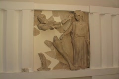 Temple of Olympian Zeus metope relief sculpture depicting Hercules' labor of the Stock Footage