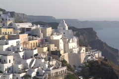 White washed buildings in the village of Thera on the Greek island of Santorini, Stock Footage