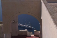 Tourists, ships & cruiseships in Santorini, Greece - stock footage