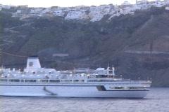 Stock Video Footage of Tourists, ships & cruiseships in Santorini, Greece