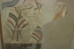 Wall paintings from the ancient, pre-historic settlement of Acrotiri on the Stock Footage