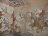 Stock Video Footage of Wall paintings from the ancient, pre-historic settlement of Acrotiri on the