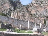 The Temple of Apollo and Mt. Parnassus at Delphi, Greece Stock Footage