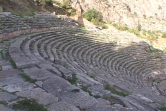 The Temple of Apollo, Mt. Parnassus and the ancient Theater at Delphi, Greece Stock Footage