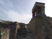 Some reconstruction buildings at the Palace of Knossos, Crete Stock Footage