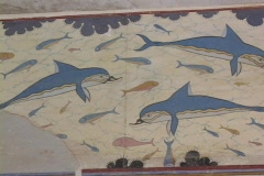Queens bathroom and dolphin wall painting at the Palace of Knossos, Crete Stock Footage