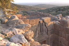 "The ""Lion's Gate"" at the bronze age royal citadel of Mycenae, Greece Stock Footage"