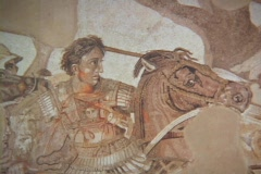 Wall Painting (fresco) depicting the Battle of Issus and Alexander the Great Stock Footage