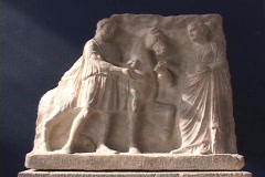 Marble Sculpture (relief) depicting Hephaestion (Alexander the Great's partner) Stock Footage
