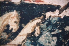 Fresco of a chariot race on a tomb at Vergina, Greece Stock Footage