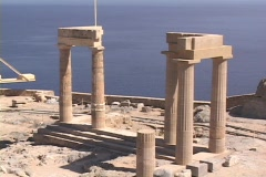 The Temple of Zeus atop the Acropolis of Lindos on the Greek island of Rhodes, Stock Footage