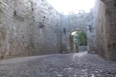The medieval, cobblestone streets of the Venetian Fortress on the Greek island Stock Footage