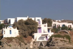 White washed buildings & churches on the Greek island of Mykonos, Greece Stock Footage