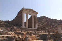 The Temple of Isis on the Greek island of Delos, Greece Stock Footage