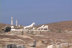 The 'Terrace of the Lions' on the Greek island of Delos, Greece Stock Footage