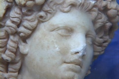 Marble bust of the Greek god Dionysus (or Roman Bacchus) Stock Footage