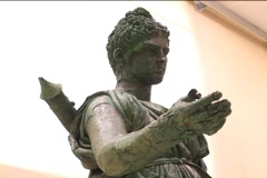 Bronze statue of the Greek goddess Artemis (or Roman Diana) - stock footage