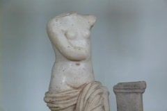 Marble statuette of the Greek goddess Aphrodite (or Roman Venus) Stock Footage