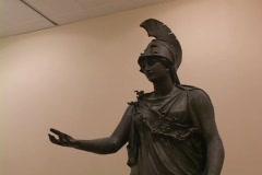 Bronze statue of the Greek goddess Athena (Roman Minerva) Stock Footage