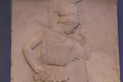 Marble relief sculpture of the Greek goddess Athena (Roman Minerva) as a warrior Stock Footage