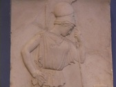 Stock Video Footage of Marble relief sculpture of the Greek goddess Athena (Roman Minerva) as a warrior