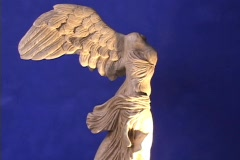 Marble statue of Nike, Greek goddess of Victory (Winged Victory of Samothrace) - Stock Footage