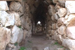 Vaulted tunnel at the Mycenaean citadel of Tiryns, Greece Stock Footage